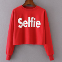 New fashion long sleeve print belly hollow sweater