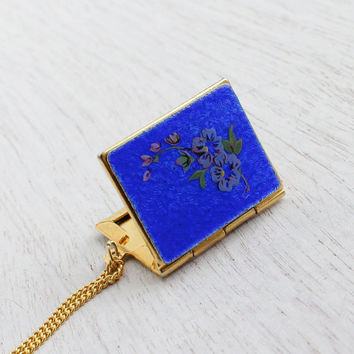 Vintage Guilloche Flower Book Locket - Mid Century 1960s Floral Enamel Gold Tone Jewelry / Victorian Style Pendant