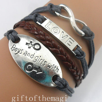 love,boys and girls with,&infinity karma charm Bracelet Antique silver--Wax Cords braid leather bracelet-- friendship gift 734