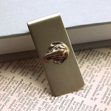 A Vintage Solid Brass Elephant Money Clip. Unisex Gift. For Him under 30. For Dad. For Brother. African Safari. Fathers Day Gift.