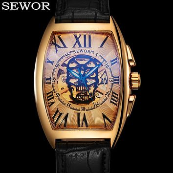 SEWOR Mechanical Men Watch Fashion Genuine Leather Skeleton Skull Male Clock Top Brand Luxury Gold Sport Military Wristwatch 079