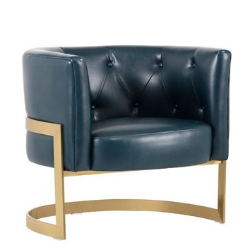 KARNIA NOBILITY BLUE LEATHER ACCENT CHAIR