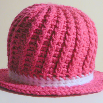 Ella Sunhat - Pink and White - 0-3 Months