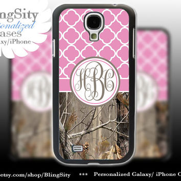 Monogram Galaxy S4 case S5 Real Tree Camo Pink Quatrefoil Personalized RealTree Samsung Galaxy S3 Case Note 2 3 Cover