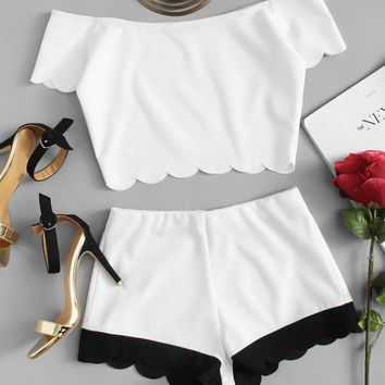 Scallop Trim Bardot Crop Top And Shorts Set