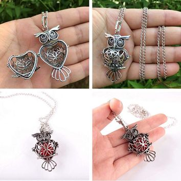 Retro Owl Necklace Sliver Hollow Necklace Sponge Aromatherapy Diffuser Necklace Women Pendants