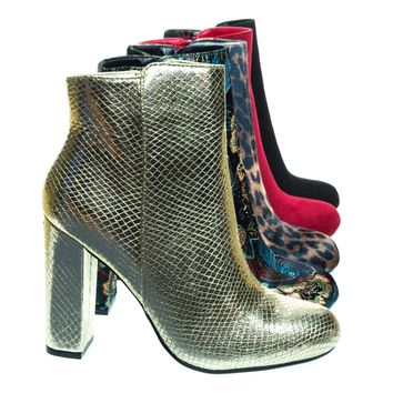 Living23 Gold Snake by Bamboo, Embossed & Embroidery Block Heel Ankle Bootie w Faux Fur Lining