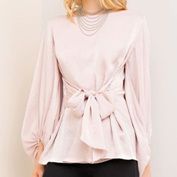 See You Never Long Sleeve Boat Neck Tie Waist Blouse - 3 Colors Available (Pre-Order)