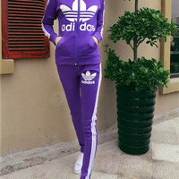 """Adidas"" Fashion Casual Stripe Clover Letter Print Long Sleeve Zip Cardigan Set Two-Piece Sportswear"