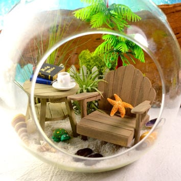 "Beach Bible Study Terrarium ~ Adirondack Table and Chair ~ Bible and Journal ~ 2 Air plants ~ 7"" Glass Globe ~ Beach Decor ~ Christmas Gift"