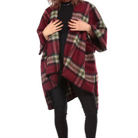 Burgundy Plaid Over Sized Wool Coat