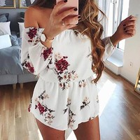 VONEGZ Sexy Off Shoulder Backless Rompers Floral Print Playsuits hollow out summer