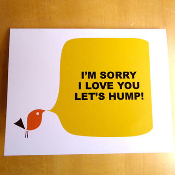 I'm sorry card, I love you card, greeting card, thinking of you card, paper goods, handmade card, blank notecard,ready to ship