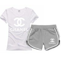 Trendsetter Chanel Women Men Casual Sport T-Shirt Top Tee Shorts Set Two-Piece