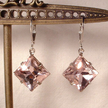 Vintage Dusty Blush Pink Art Deco Square Cut Crystal Rhinestone Silver Dangle Drop Earrings Flapper Gatsby Bridal Bridesmaids Gifts 1920s