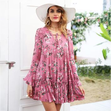 8DESS Lace up floral print dress women Long sleeve ruffle loose short dress casual dress