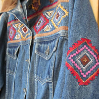 Blue Jean Jacket DENIM Embroidered Dungaree Coat Sz M AGAPO India 90s Grunge