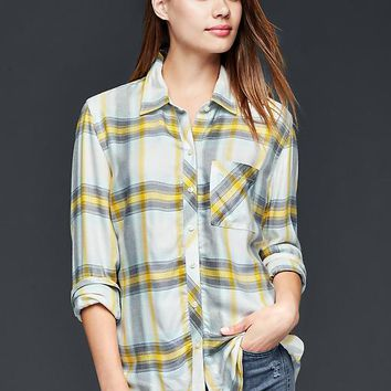 Gap Women Drapey Plaid Boyfriend Shirt