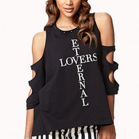 FOREVER 21 Eternal Lovers Cutout Sweatshirt Black/Cream