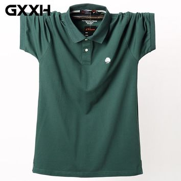 Men's Short Sleeve POLO Shirt Plus Size Fat 130kg Big and Tall Man Oversized Shirt Male Cotton Large Summer L XXL 3XL 4XL 5XL