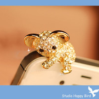 Bling Crystal Koala Bear Earphone Cap Anti Dust by StudioHappyBird