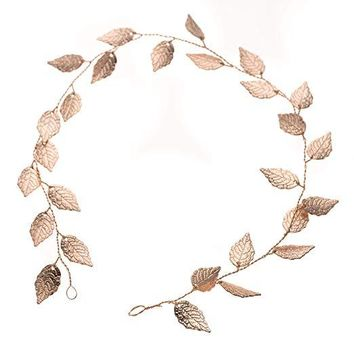 Bridal Headband - Leaf Rose Gold