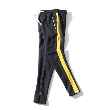VONE05F8 Mens zipper pocket trouser justin bieber multicolor elastic waist men track pants ankle zip tapered sweatpants