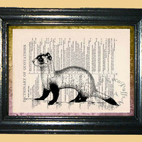 Ferret Animal Art - Vintage Dictionary Book Page Art Print Upcycled Book Art Mixed Media Art