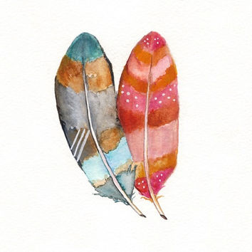 Feather Love / Blue / Azul / Teal / Aqua / Pink / Magenta / Yellow / Watercolor Print
