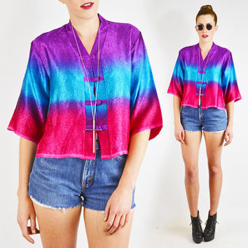 vintage 90s OMBRE TIE-DYE top / ombre top / kimono top / tunic top / 90s festival top / 90s top / 90s club kid top / blue seapunk top / s m