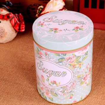 Retro Style Blue Sugar Rose Flower Kitchen Coffee Tea Sugar Container Jar Tin Metal