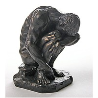 Crouching Man with Head on Arm Statue by American Sculptor Bartlett 5.5H