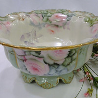 A Rare Mold! Precious Elite Limoges Footed Porcelain Center Bowl ~ Jardiniere ~ Beautiful Pink Roses