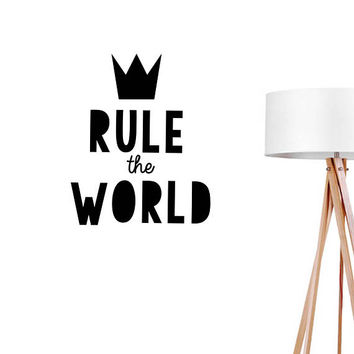Rule The World Wall Decal, Typography Wall Sticker, Kids Sticker, Typography Decal, Nursery Decal, Office Decor, Bedroom Wall Decal,Kids Art