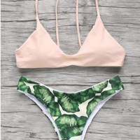 Fashion nude green leaf two piece bikini swimsuit