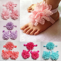 Barefoot Sandals set Baby Toddler lace peony flower Shoes and headband