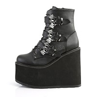 "Swing 103 Black Matte Goth Bat Buckle Ankle Boot 5.5"" Platform"