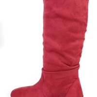 Red Slouchy Mid Calf Casual Boots Faux Suede
