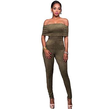 Chicloth Olive Green Faux Suede Off-the-shoulder Jumpsuit