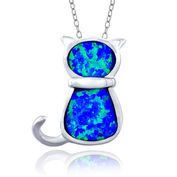 Sterling Silver Created Blue Opal Cat Necklace