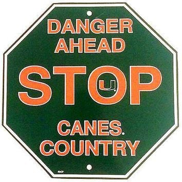 """Miami Hurricanes 12"""" Plastic Wall STOP Sign Country DANGER AHEAD University of"""