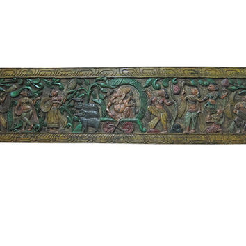 Antique Indian Wall Panel Headboard Ganesha Carving Panels Furniture