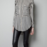 STRIPED BLOUSE WITH LARGE POCKETS - Shirts - Woman - ZARA United States