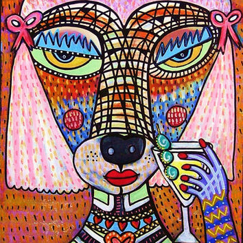 Pink Poodle Drinking A Martini  by SandraSilberzweigArt on Etsy