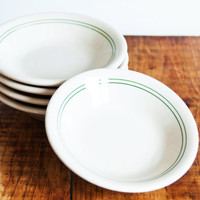 Vintage Tepco Green Stripe Berry Bowls, SET of 5 Restaurant Ware Diner Sauce Bowl, Small Serving Dishes