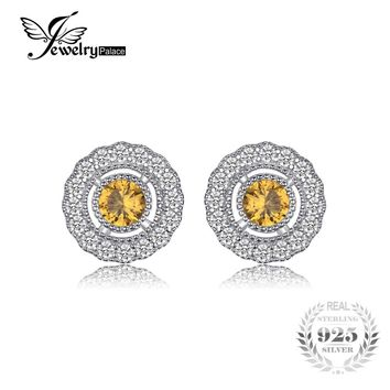 JewelryPalace Vintage 1.2ct Created Orange Sapphire Halo Stud Earrings Fashion 925 Sterling Silver Fine Jewelry 2017 New Arrival