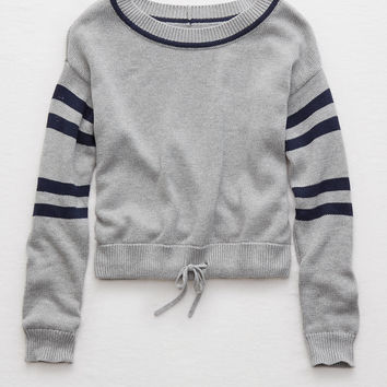 Aerie Drawstring Sweater , Medium Heather