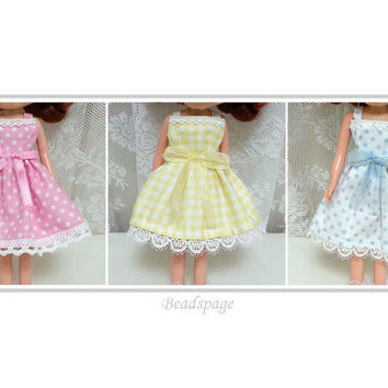 Blythe Dress, Fashion, Outfit, Clothing, Sweet, Yellow, Pink, Blue, Polka Dots, Checkered, lace, ribbon, kawaii, cute, Licca, DAL