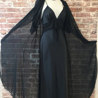 On Sale 20% off Jet Black Peignoir Set - Nightgown  - Chiffon Robe -  Gifts For Her - Romantic Nightgown - Boudoir -  Best Selling Vintage -