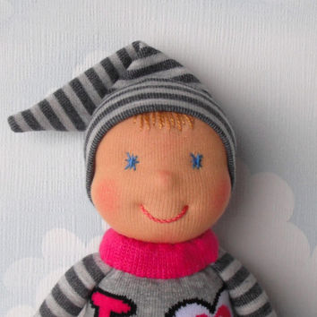 Waldorf elf doll, Baby doll for babyboys and toddlers, Sock  doll, Handmade pocket doll, First birthday boy, Natural soft toys, Toddler gift